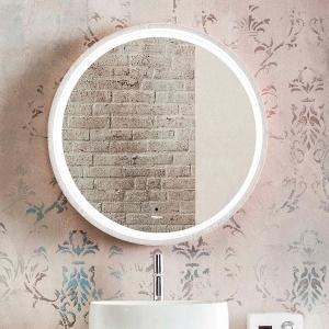 Wandmontierter Spiegel für Badezimmer / beleuchtet / modern / rund
