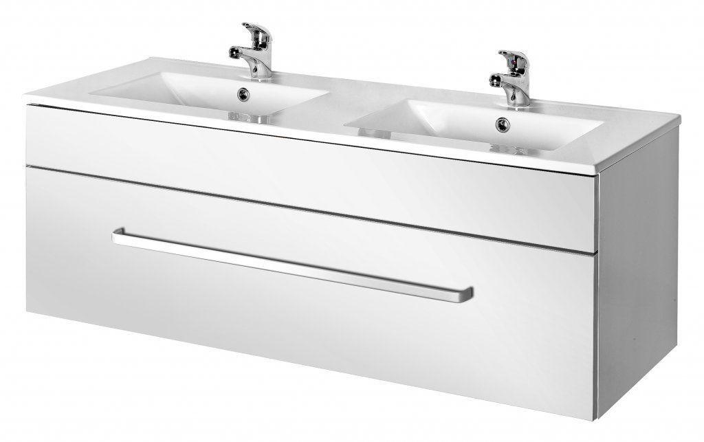 Doppelter Waschtisch-Unterschrank / hängend / Holz / modern - LINEA ...