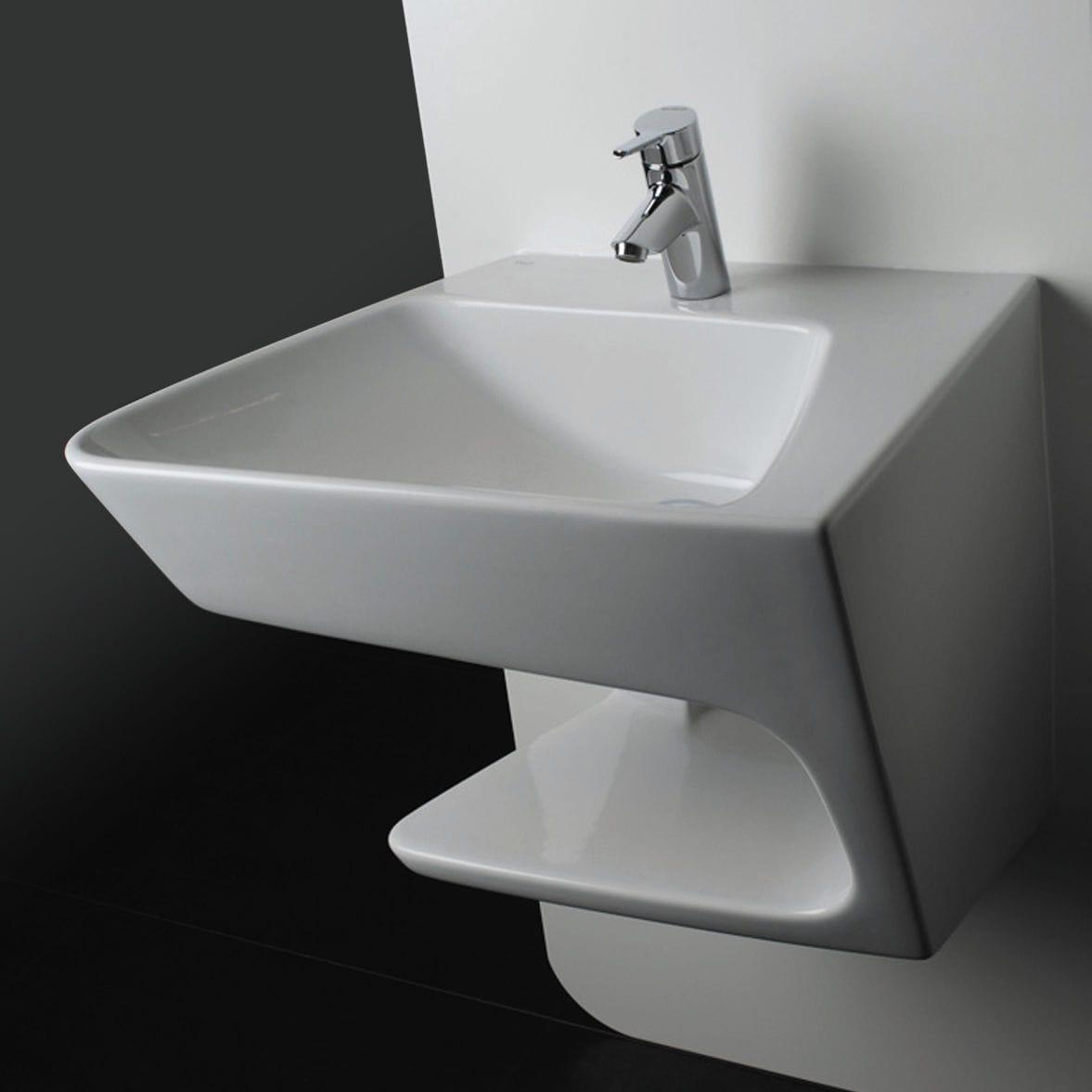 Wand Waschbecken Keramik Modern Mit Ablage Link Right