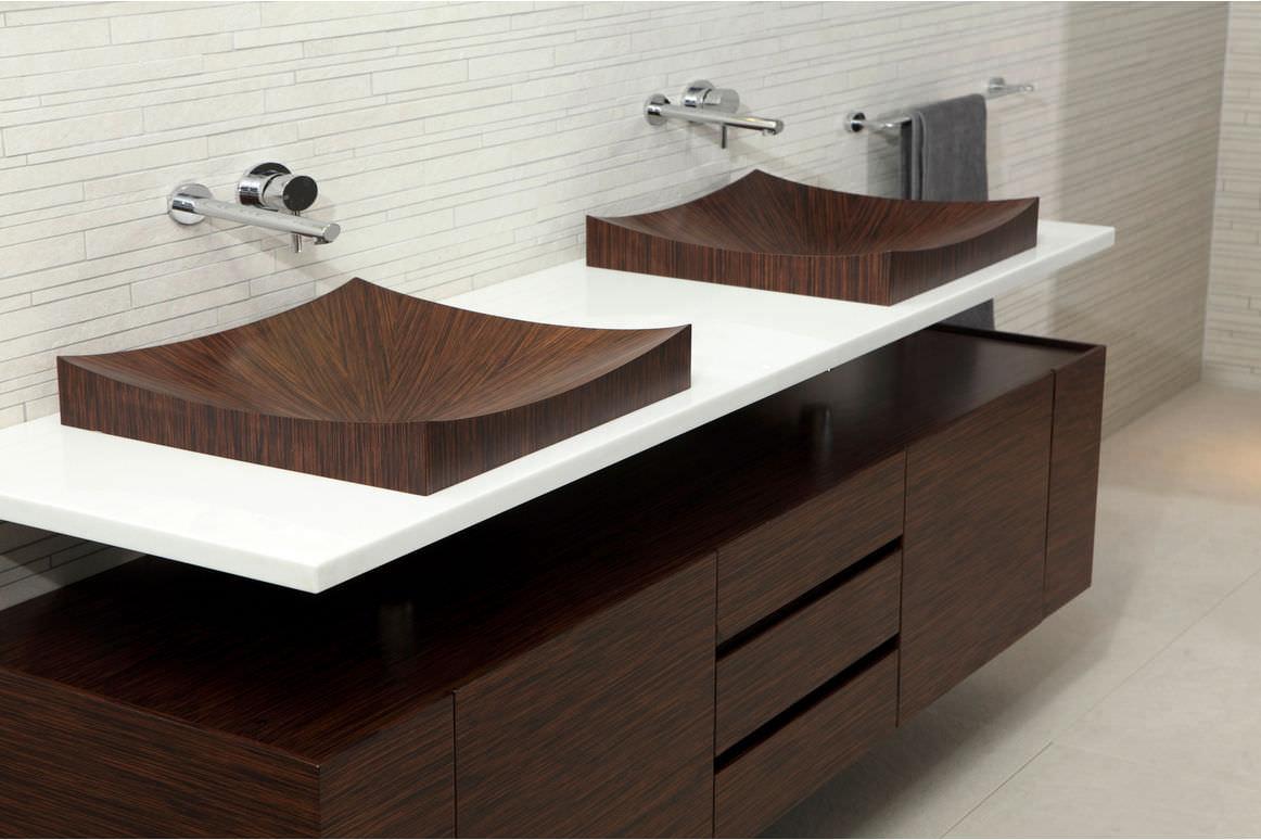 Aufsatzwaschbecken / rechteckig / Holz / modern - LAGUNA PURE 05 ... | {Waschbecken rechteckig mit unterschrank 92}
