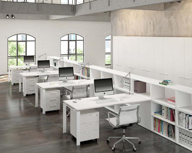 Schreibtisch für open space holz metall modern fuji quadra