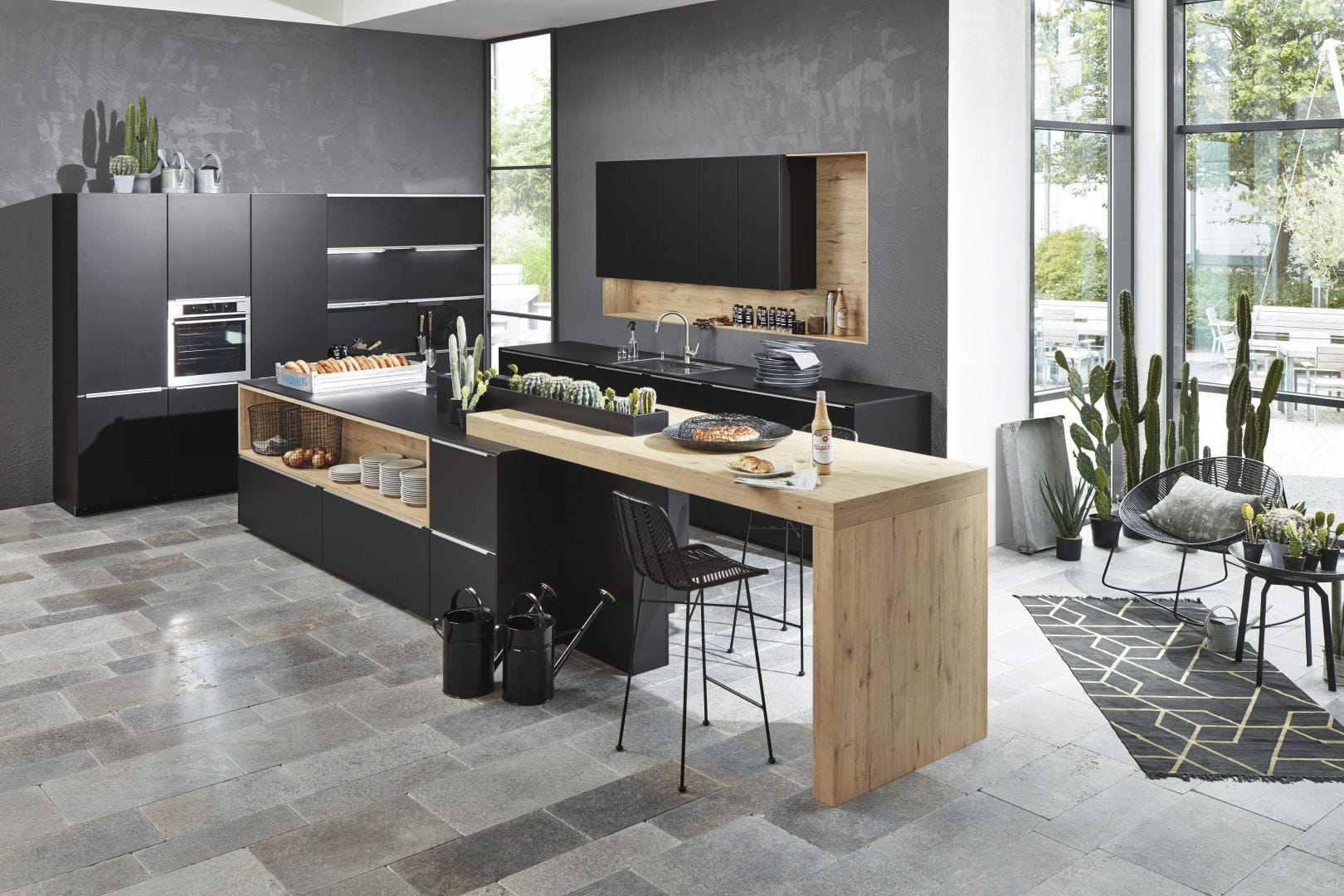 Moderne Küche / Aus Eiche / Lackiertes Holz / Kochinsel