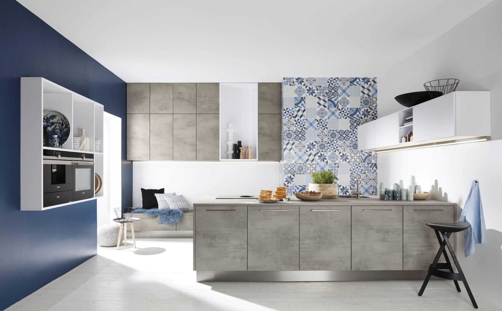 Moderne Küche / Laminat / Melamin / Kochinsel - STONE CONCRETE/ FEEL ...