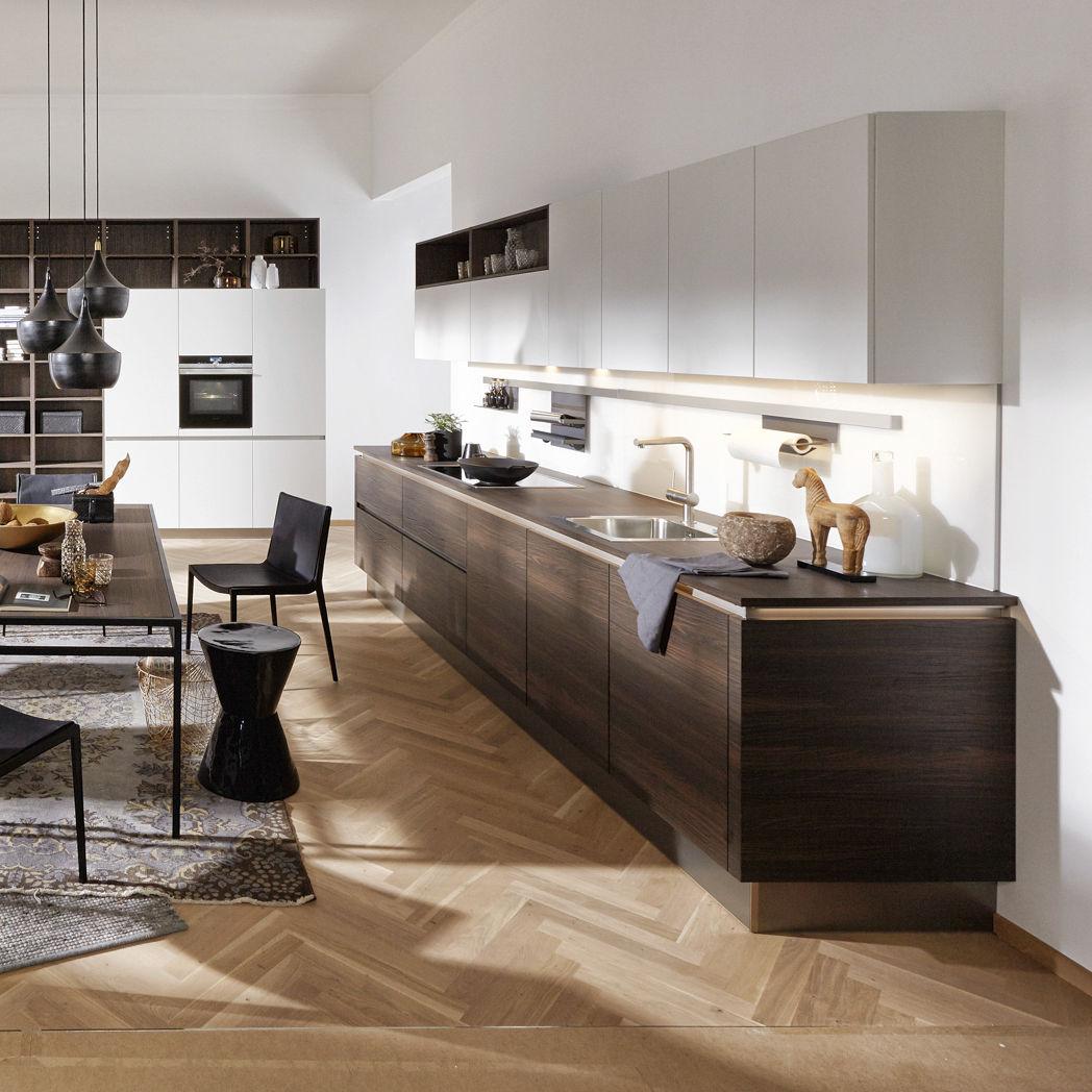 Moderne Küche / aus Nussbaum / Laminat / ohne Griff - ARTWOOD CUBA ...