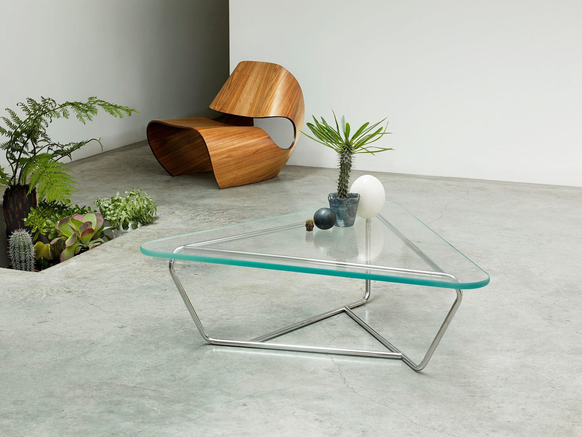 Moderner Couchtisch / Glas / Edelstahl / dreieckig - PRISM - Made in ...