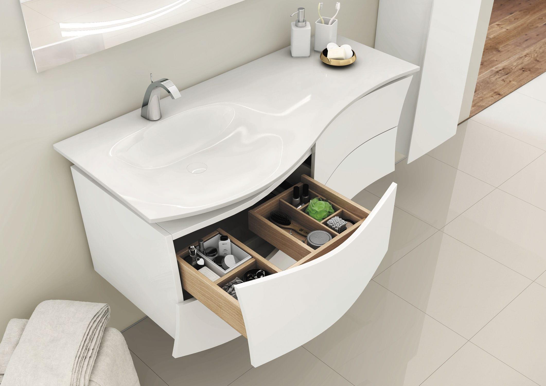 Waschtischunterschrank hängend  Hängend-Waschtischunterschrank / Holzfurnier / modern / mit ...