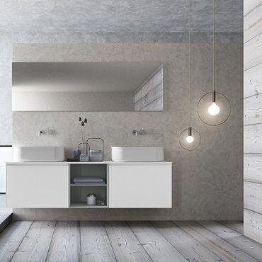 Laminat Modern doppelter waschtisch unterschrank hängend laminat modern
