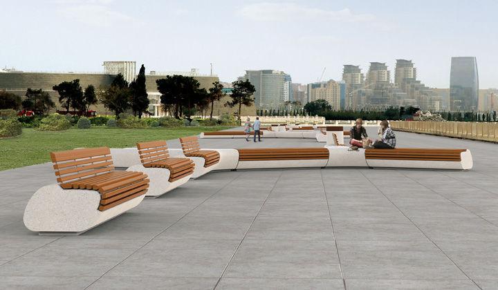 Parkbank Originelles Design Holz Granit Lorenz Botton