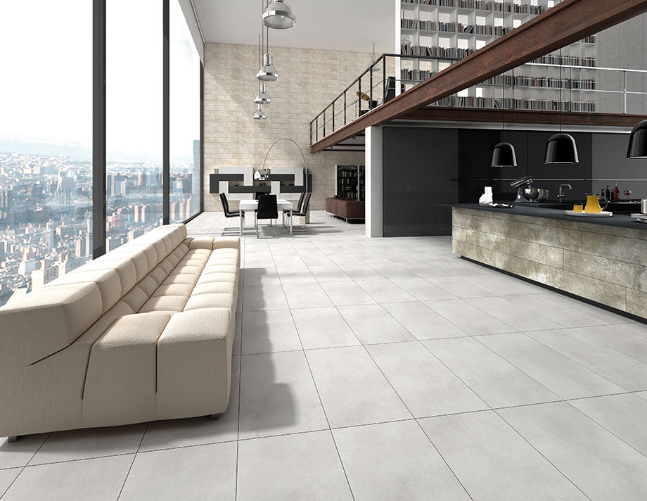 Innenraum Fliesen / Wohnzimmer / Für Böden / Feinsteinzeug   CEMENT