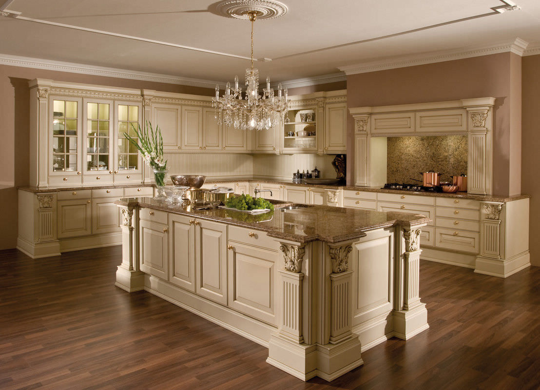 Stil-Küche / Holz / Kochinsel / lackiert - VERSAILLES-DE-LUXE - LEICHT