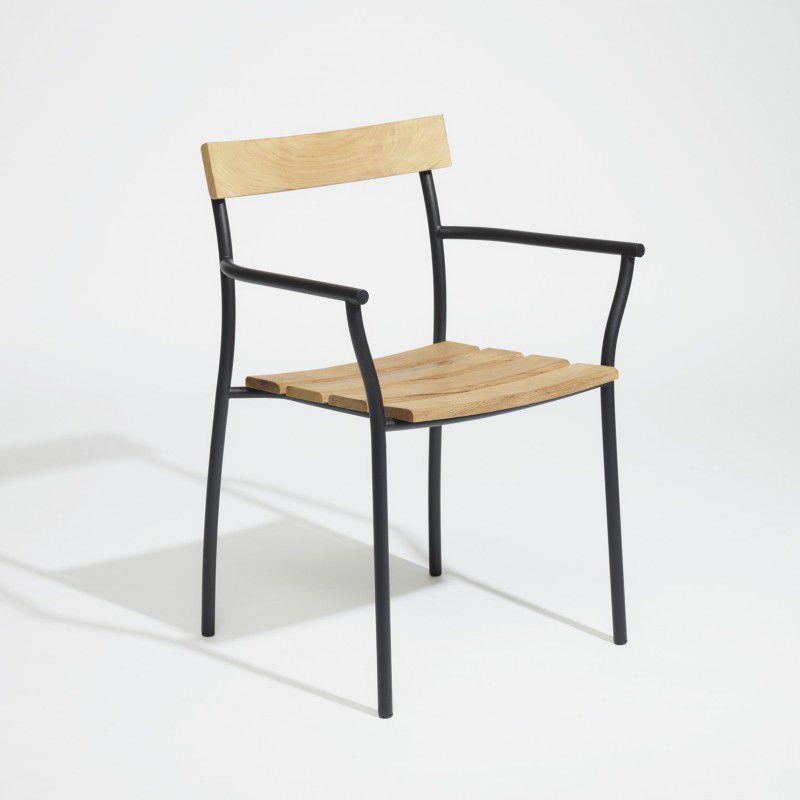 Moderner Stuhl Mit Armlehnen Stapel Aus Teakholz Cicala By