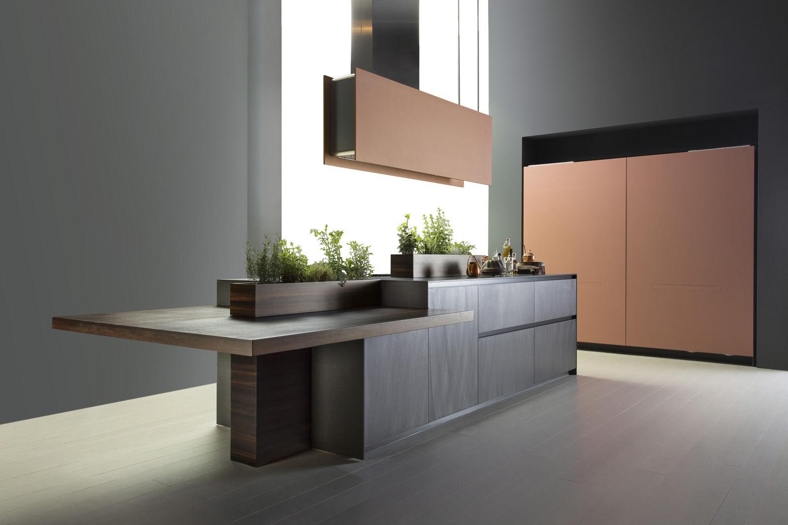 Moderne küche aluminium holz kochinsel alumina by marconato zappa