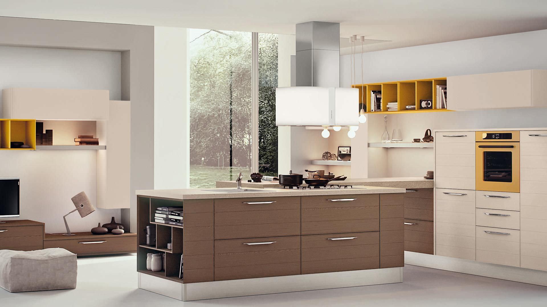 Moderne Küche / Holzfurnier / Kochinsel / lackiert - ADELE - CUCINE ...