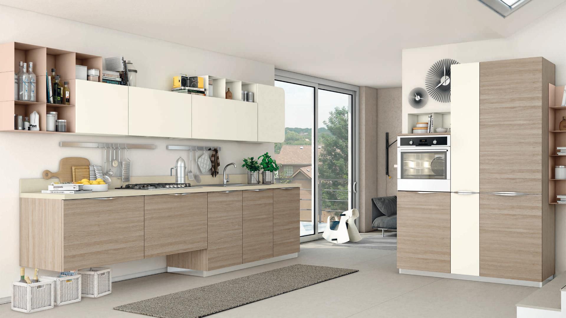 Moderne Küche / Holzfurnier / lackiert / mit Griffen - IMMAGINA ...