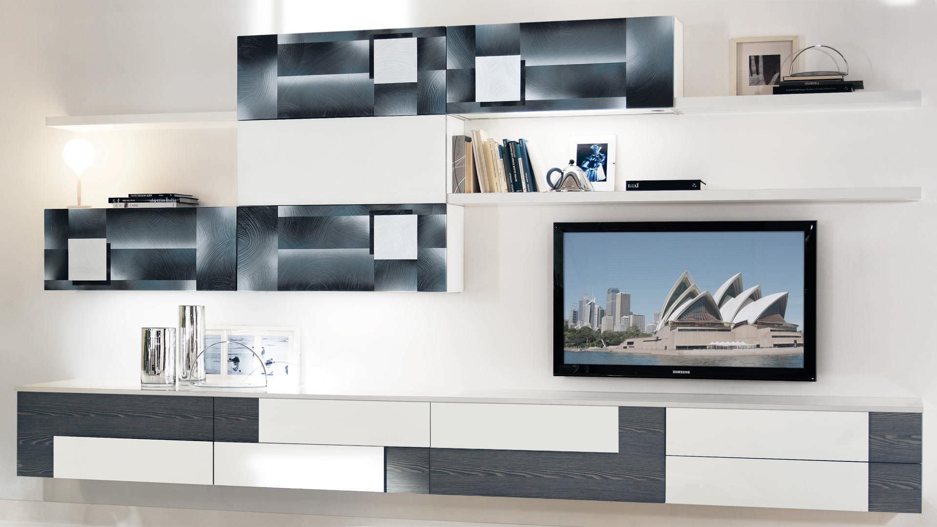 Moderne Wohnwand / Holz - CREATIVA - CUCINE LUBE - Videos