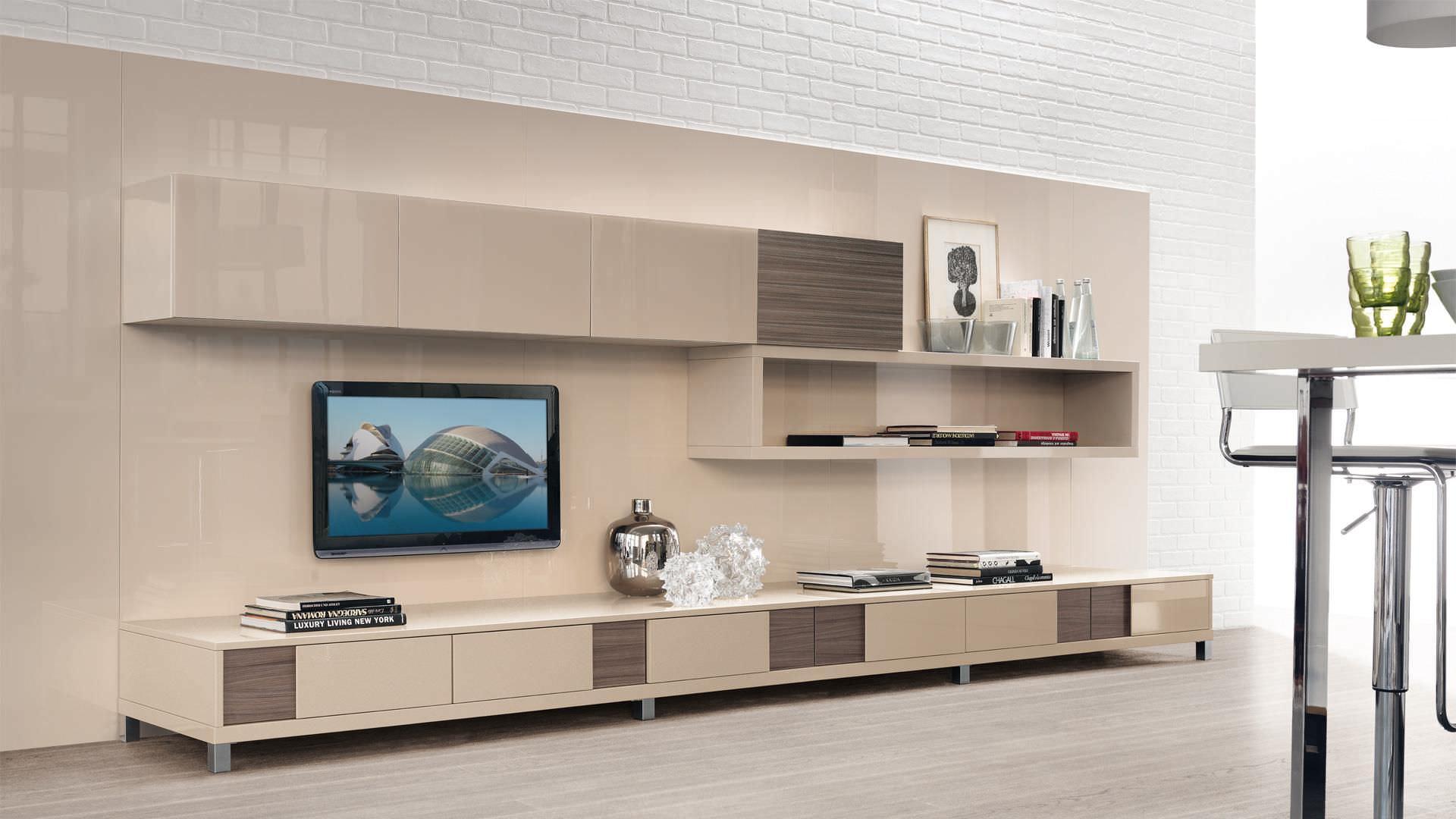 Moderne Wohnwand / Holz / lackiertes Holz - CREATIVA - CUCINE LUBE ...