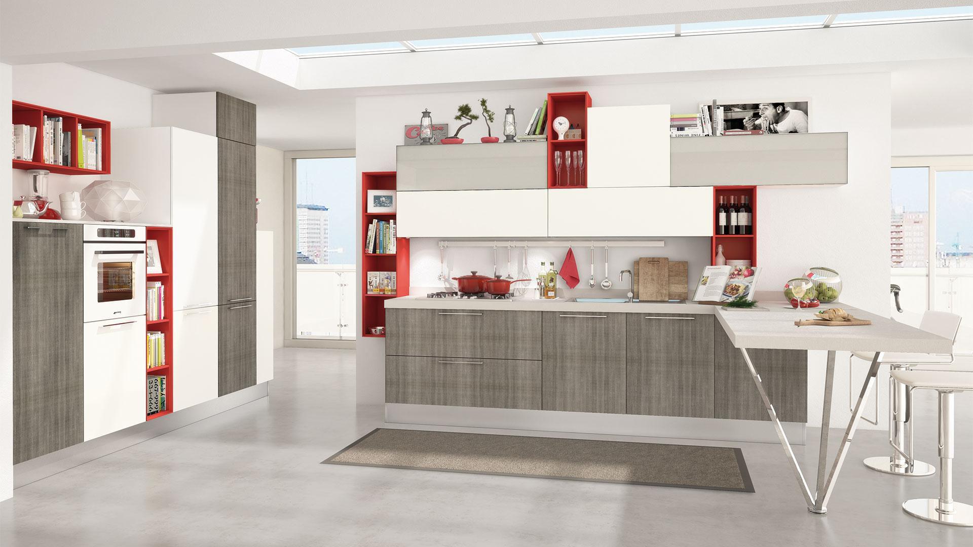Moderne Küche / Holzfurnier / lackiert / mit Griffen - NOEMI ...