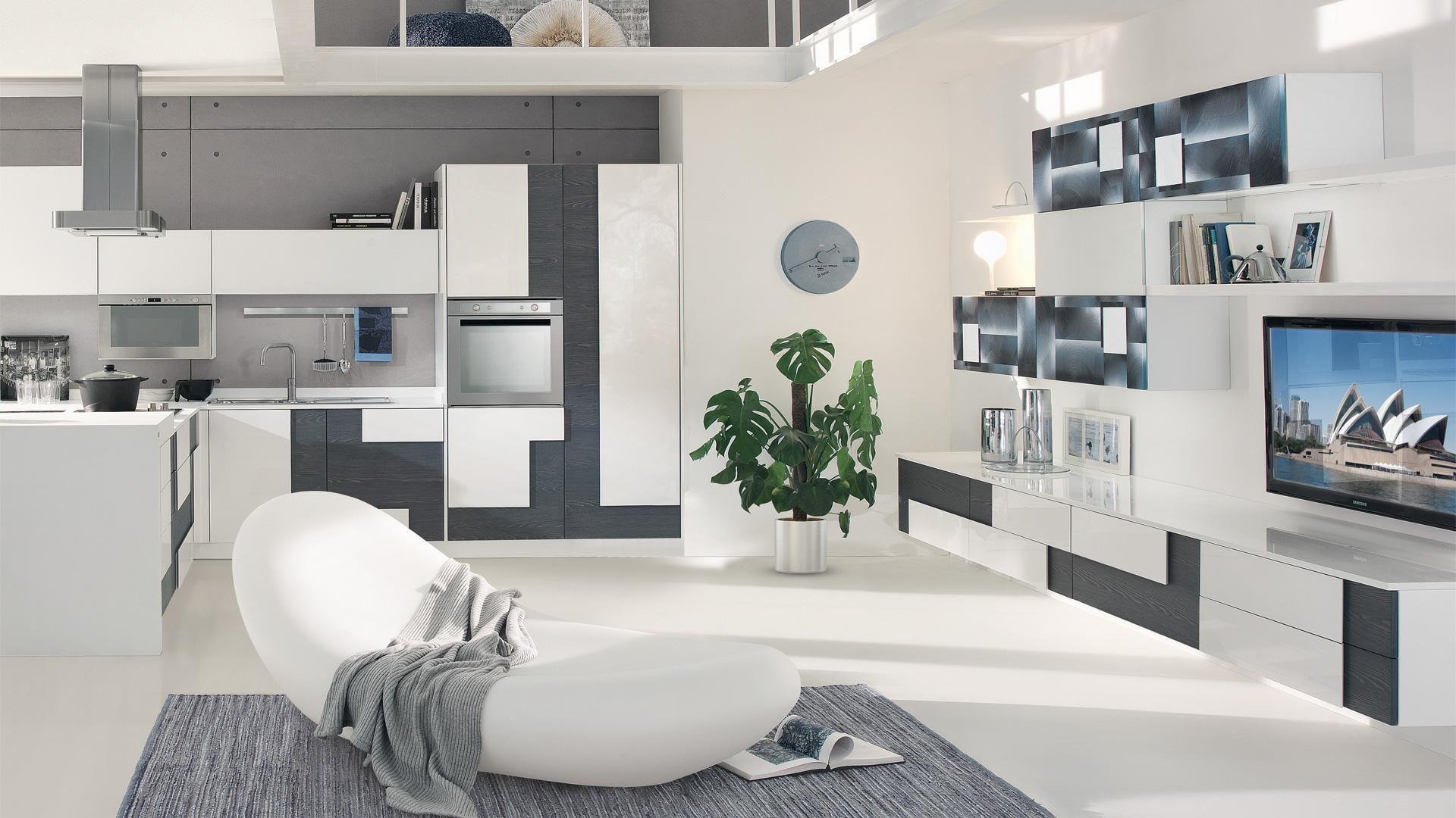 Moderne wohnwand holz creativa cucine lube videos