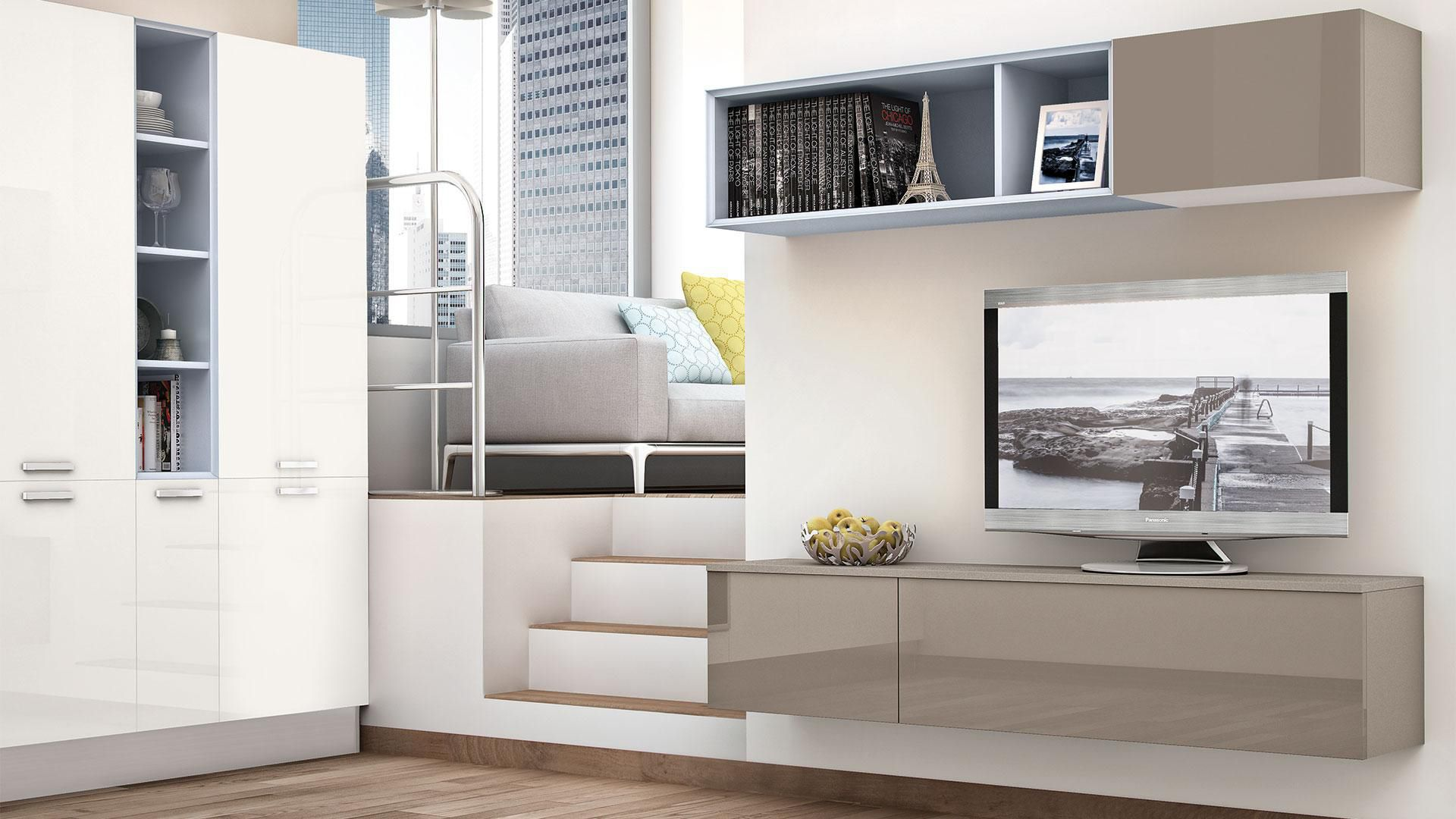 Moderne Wohnwand / lackiertes Holz - NOEMI - CUCINE LUBE