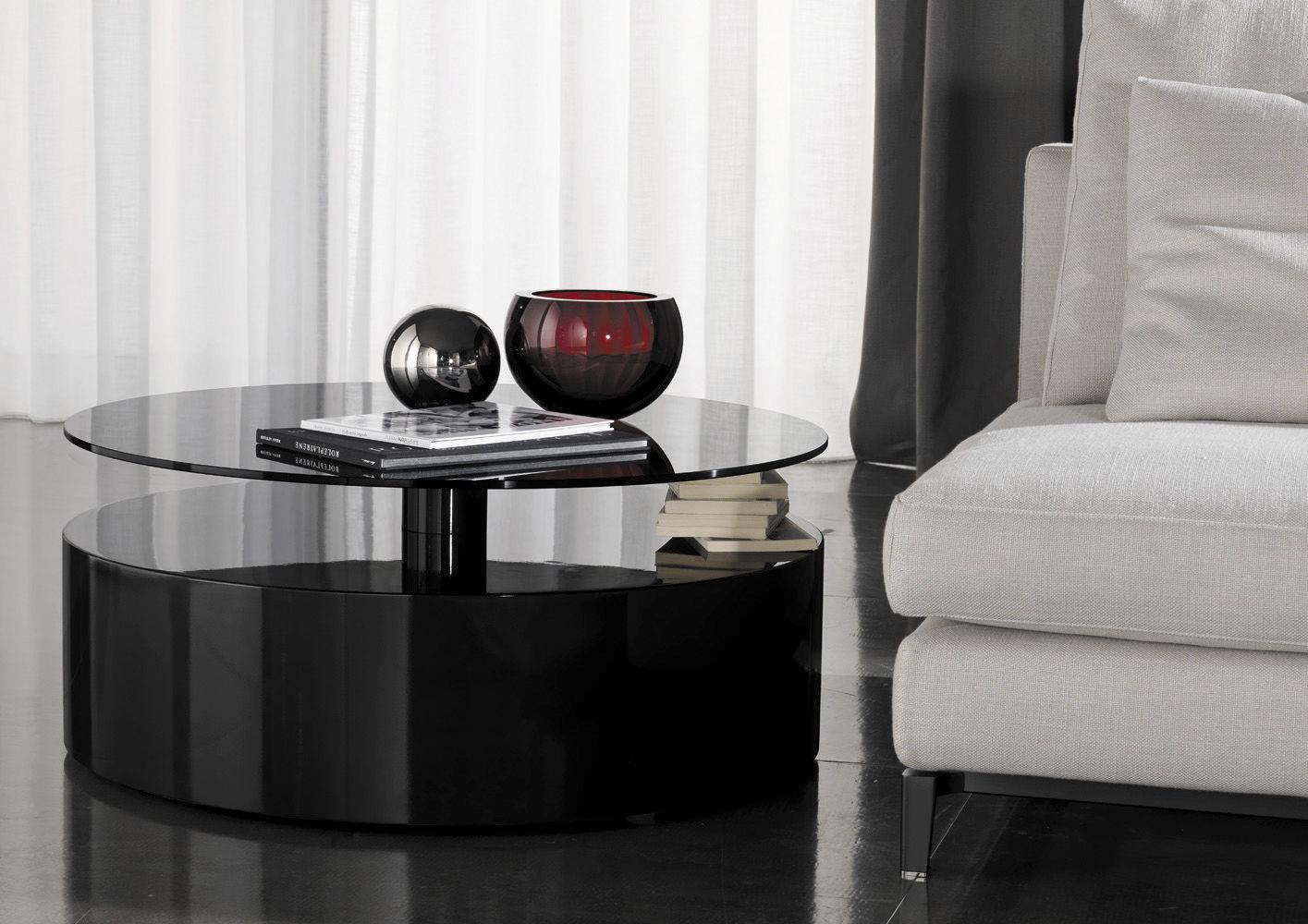 ... Moderner Beistelltisch / Glas / Rund / Mit Stauraum PARRISH Minotti ...