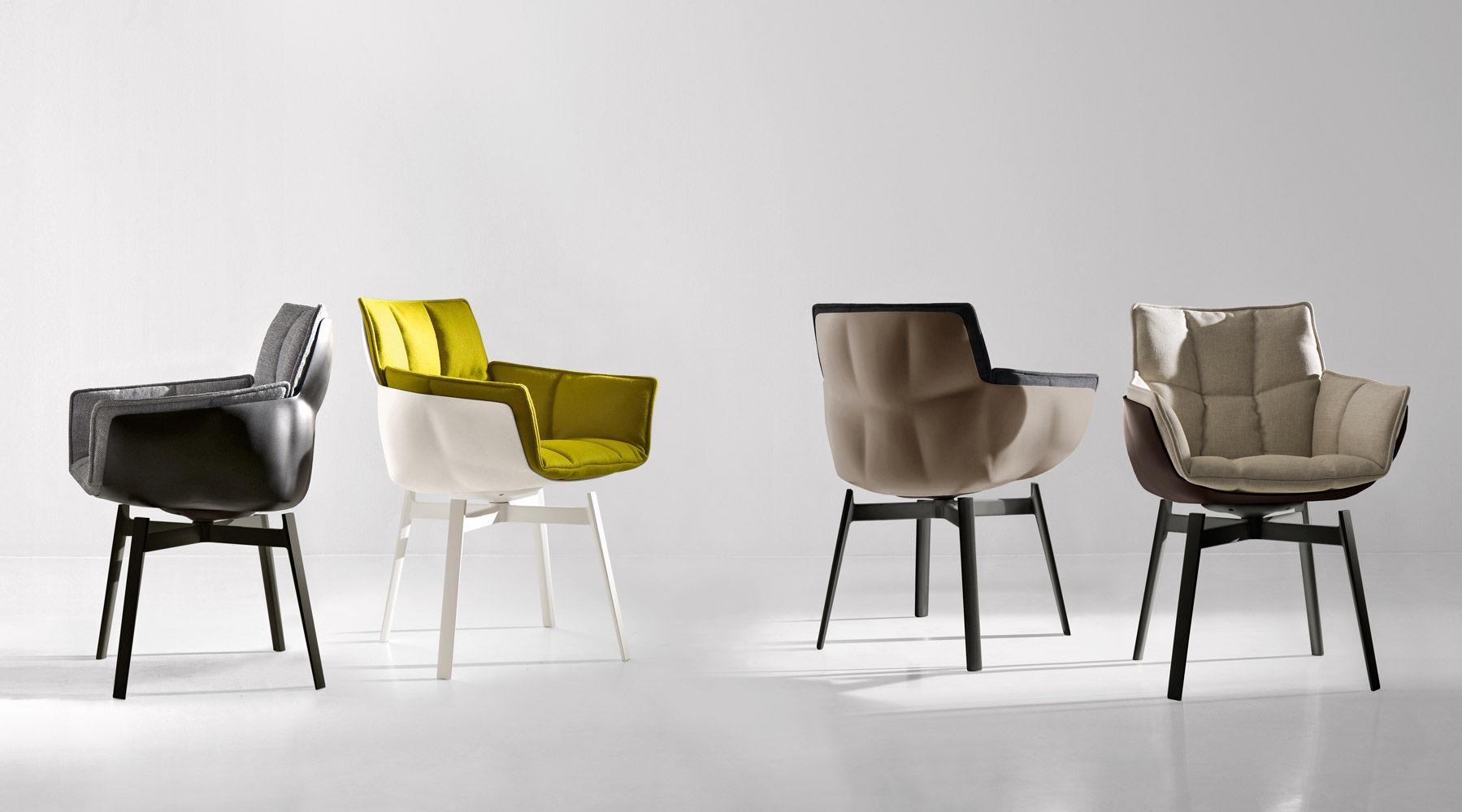 Stühle modern mit armlehne  Moderner Stuhl / Polster / mit Armlehnen / Stoff - HUSK - B&B Italia