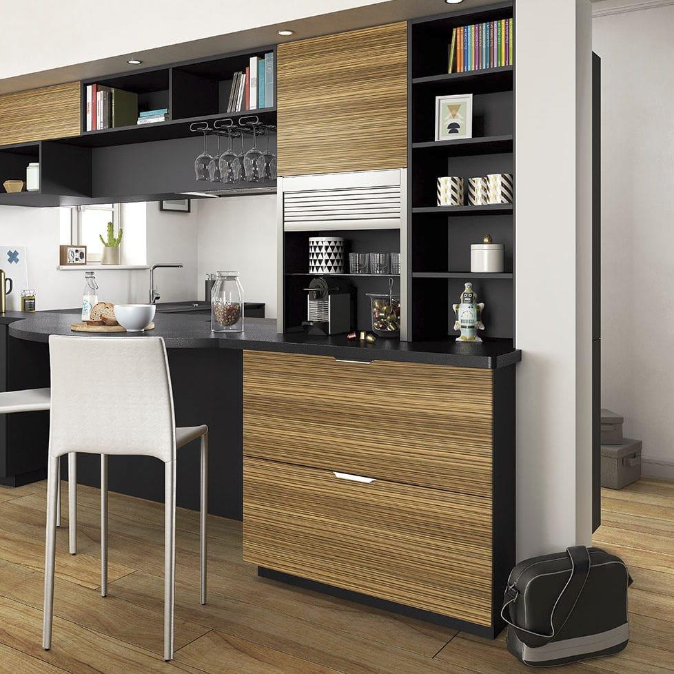 Moderne Küche / Holzfurnier / Laminat / L-förmig - AMBIANCE RÉTRO ...