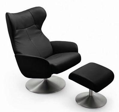 Klassischer Sessel Leder Mit Fußstütze Schrägstellbar Design