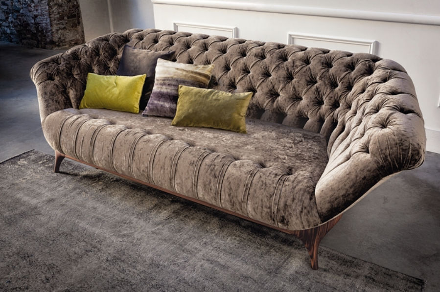 Chesterfield-Sofa / Stoff / Leder / Holz - 440 VICTOR by Altrodesign ...
