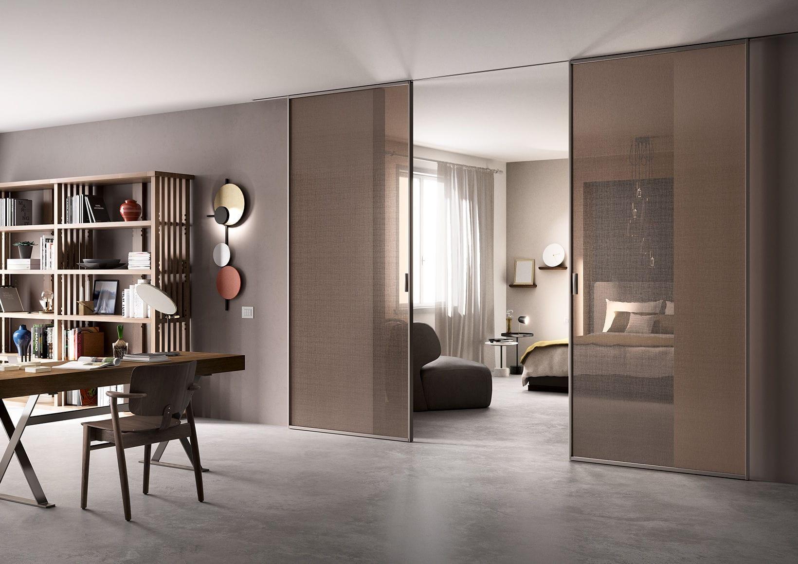 Innenbereich-Tür / Schiebe / Glas / verglast - DELINEO 2 ANTE ...