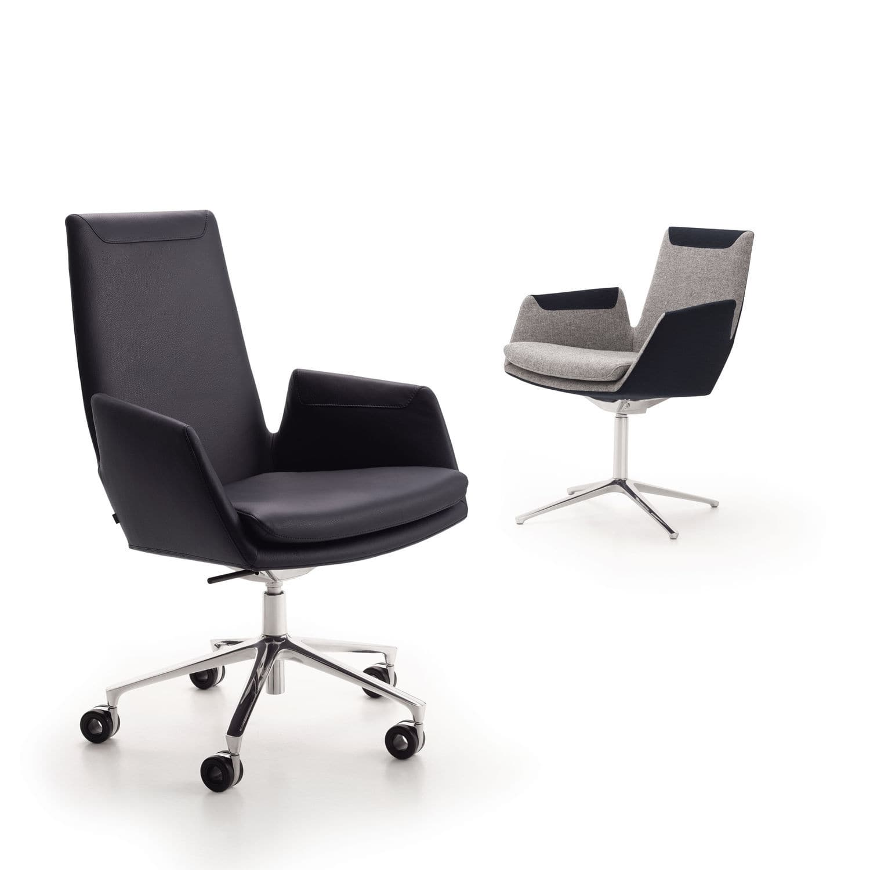 Moderner Sessel Für Büro Stoff Leder Aluminium Cordia By