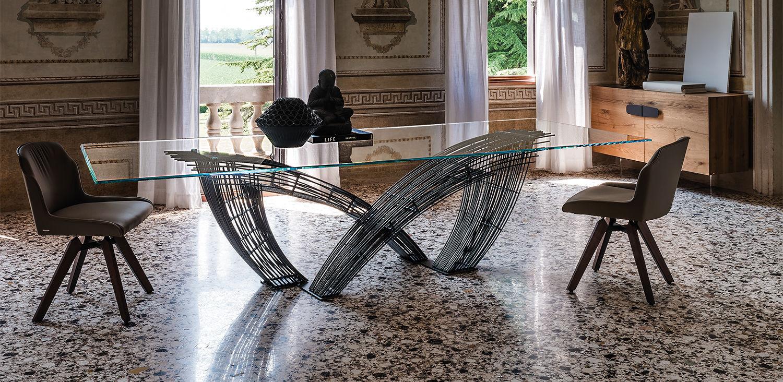 Moderner Tisch / Glas / Stahl / Rechteckig   HYSTRIX