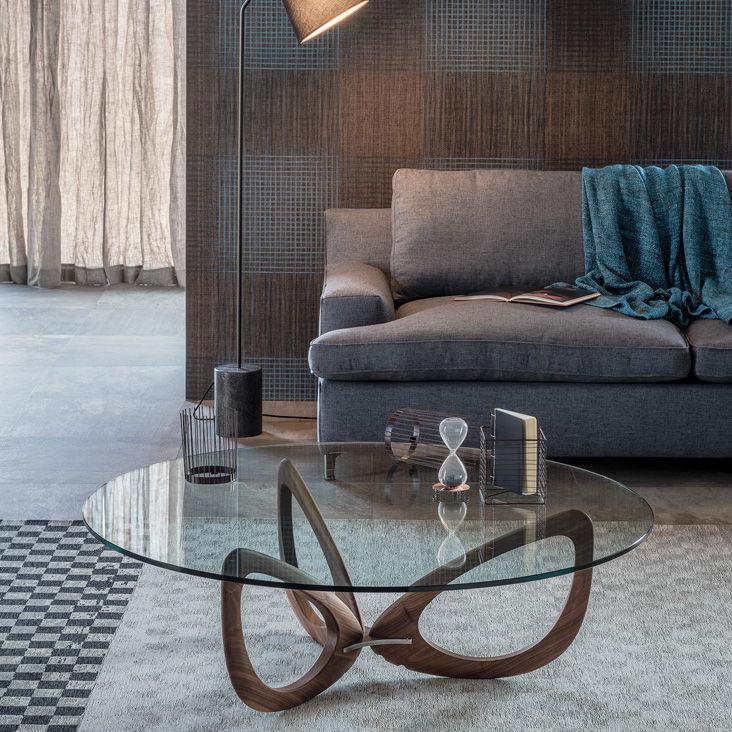 Moderne Couchtisch Nussbaum Glas Stahl