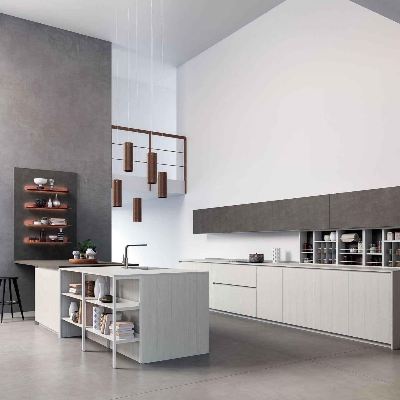 Moderne Küche / Holzfurnier / Laminat / Kochinsel - HELENE - Zecchinon