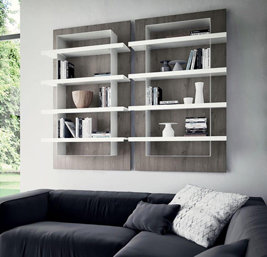 Wandmontiertes Regal Modern Holz Metall O Line Zecchinon