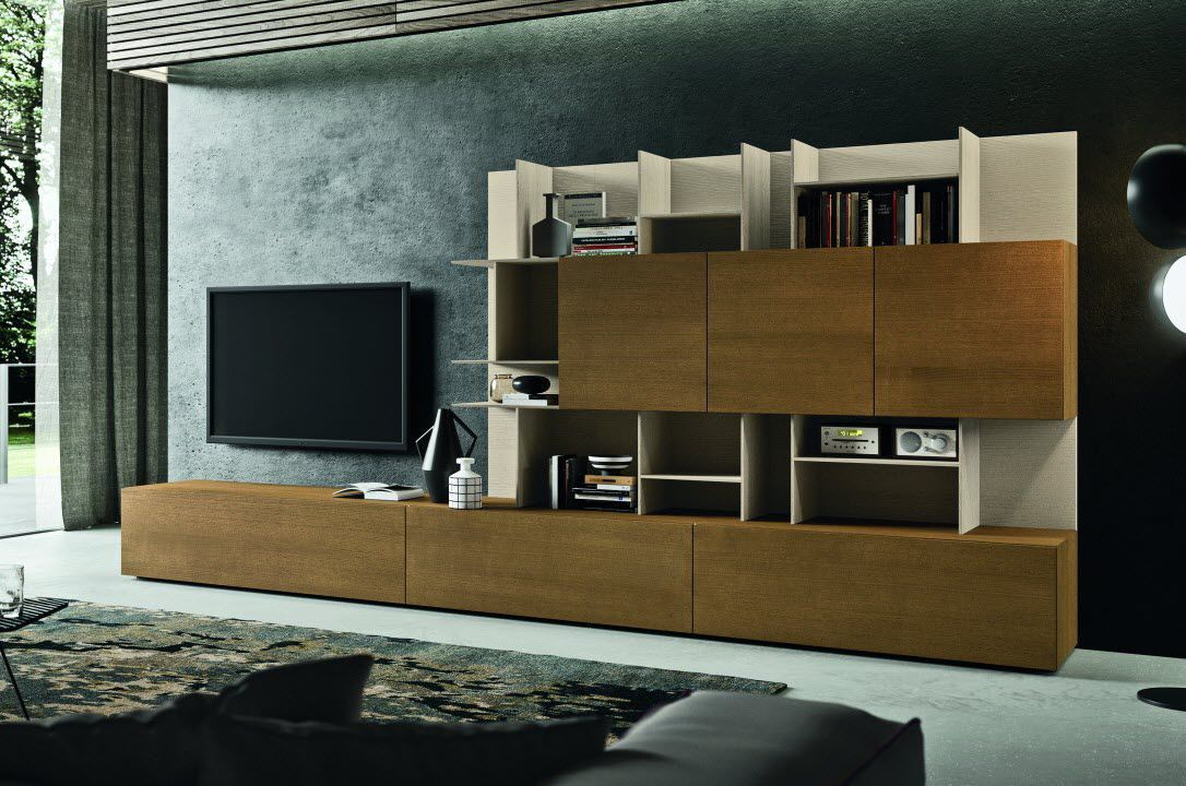 Moderne Wohnwand / Massivholz - 0SFE3186 - ACCADEMIA DEL MOBILE