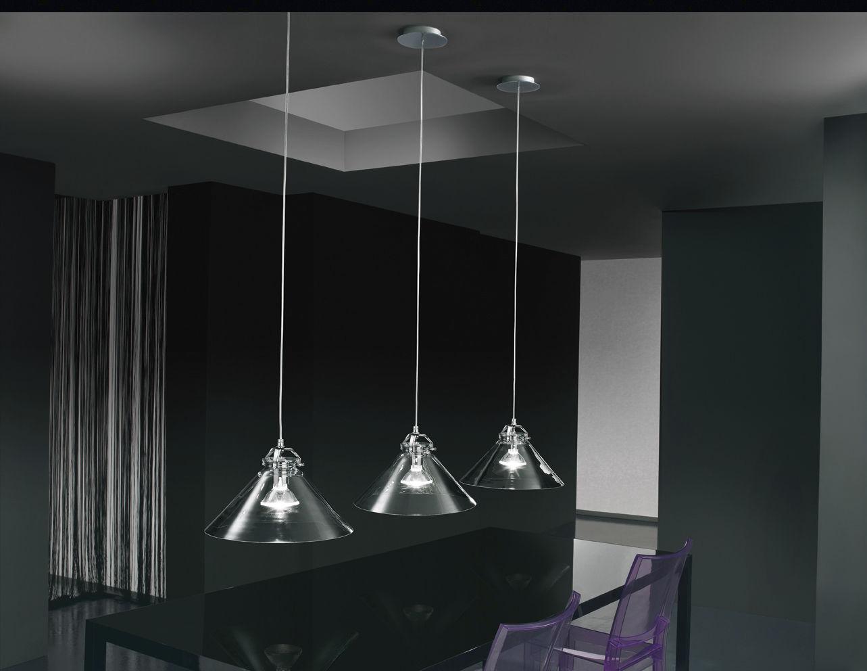 Hängelampe modern verchromtes metall glas tommy de majo