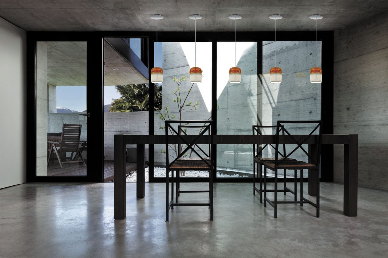 Hängelampe modern verchromtes metall glas dome by