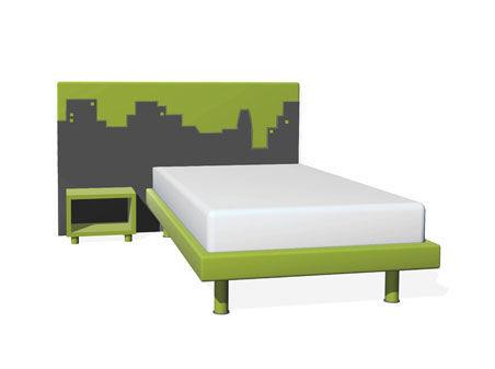 Einzelbett modern  Einzelbett / modern / Stoffbezug / mit integriertem Nachttisch ...