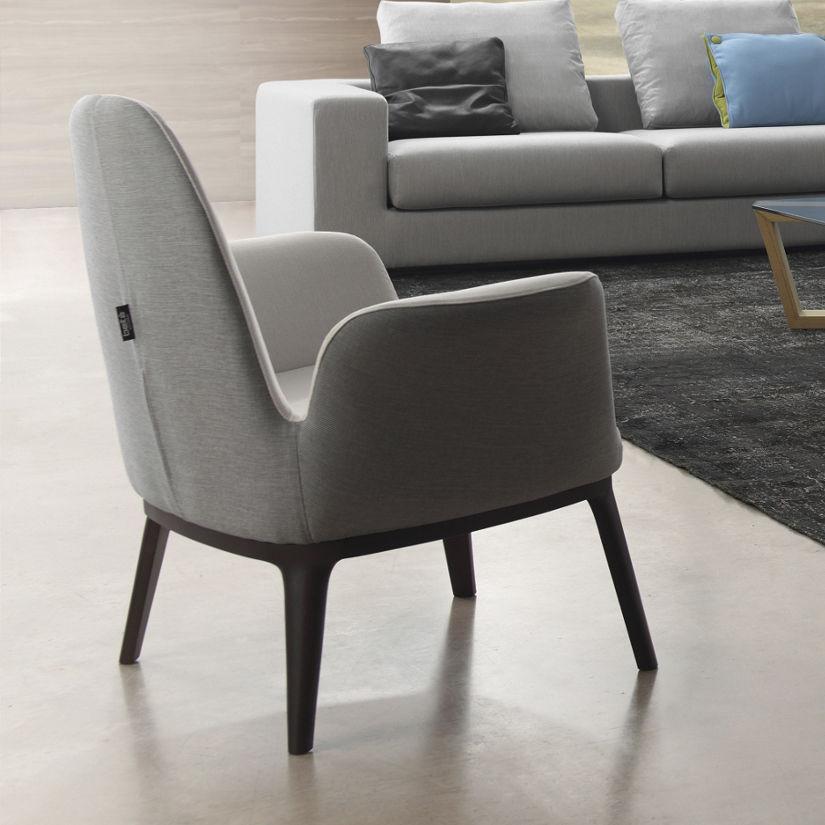 Moderner Sessel Stoff Grau Blau Even By Robert Ortega
