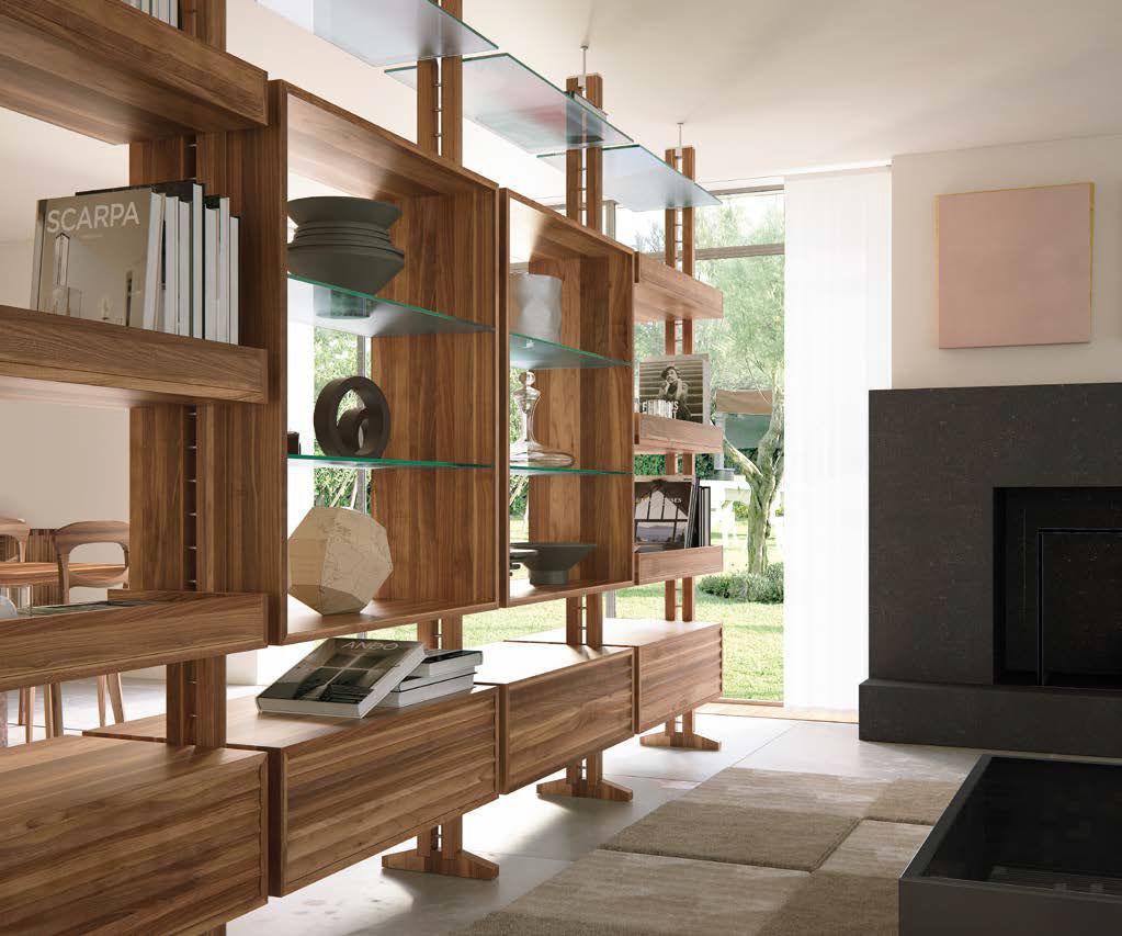 Decke/Boden-Regal / modern / Holz / Glas - E-110 - Dale Italia