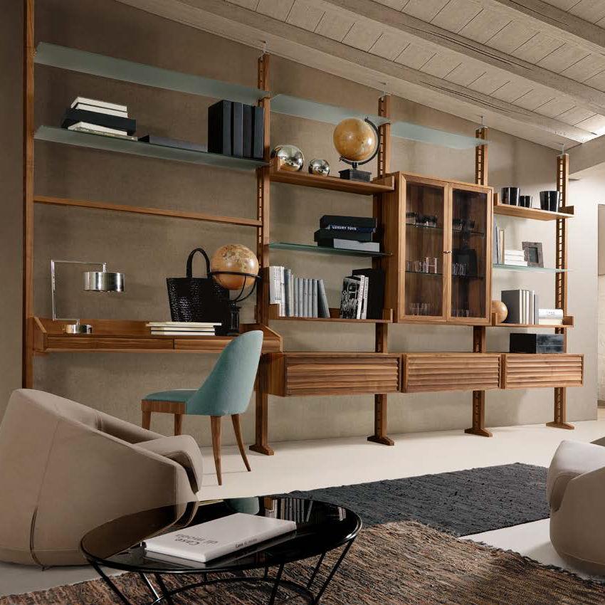 Decke/Boden-Regal / modern / Holz / Glas - E-111 - Dale Italia