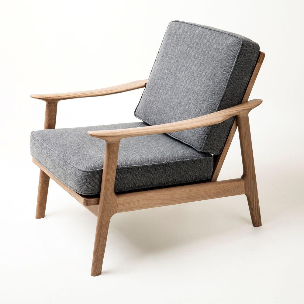 Sessel Skandinavisches Design Stoff Aus Eiche Massivholz