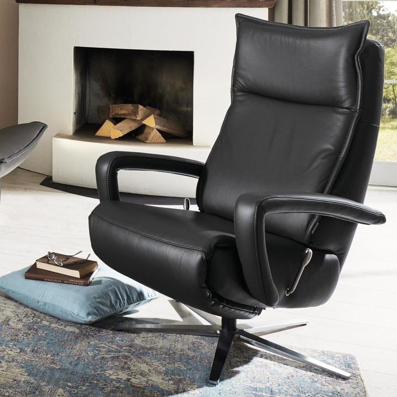 Moderner Sessel Leder Sternförmiger Fuß Ergonomisch Mr 251