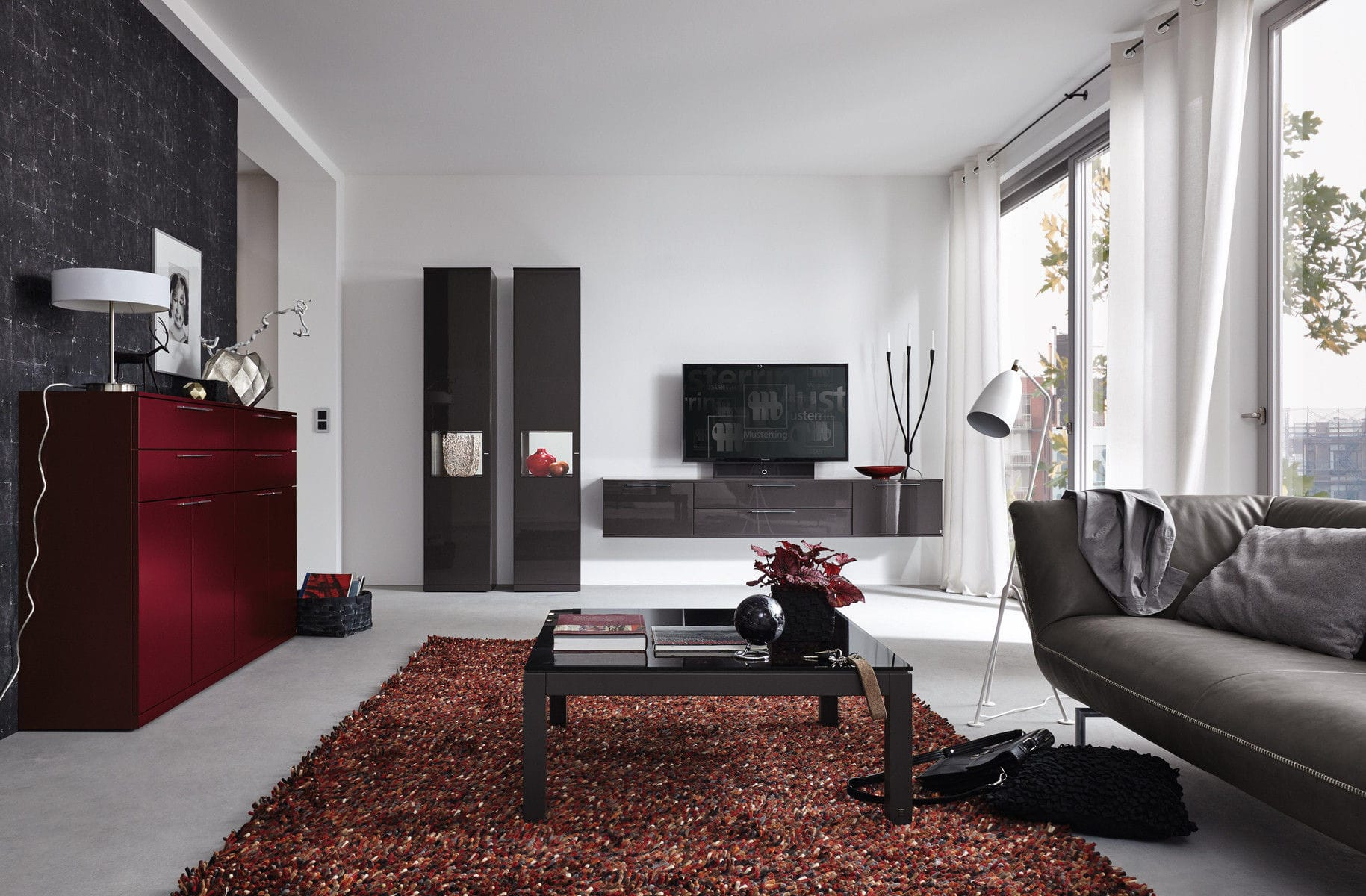 Moderne Wohnwand / lackiertes Holz / Holzfurnier - KARA-SYSTEM ...