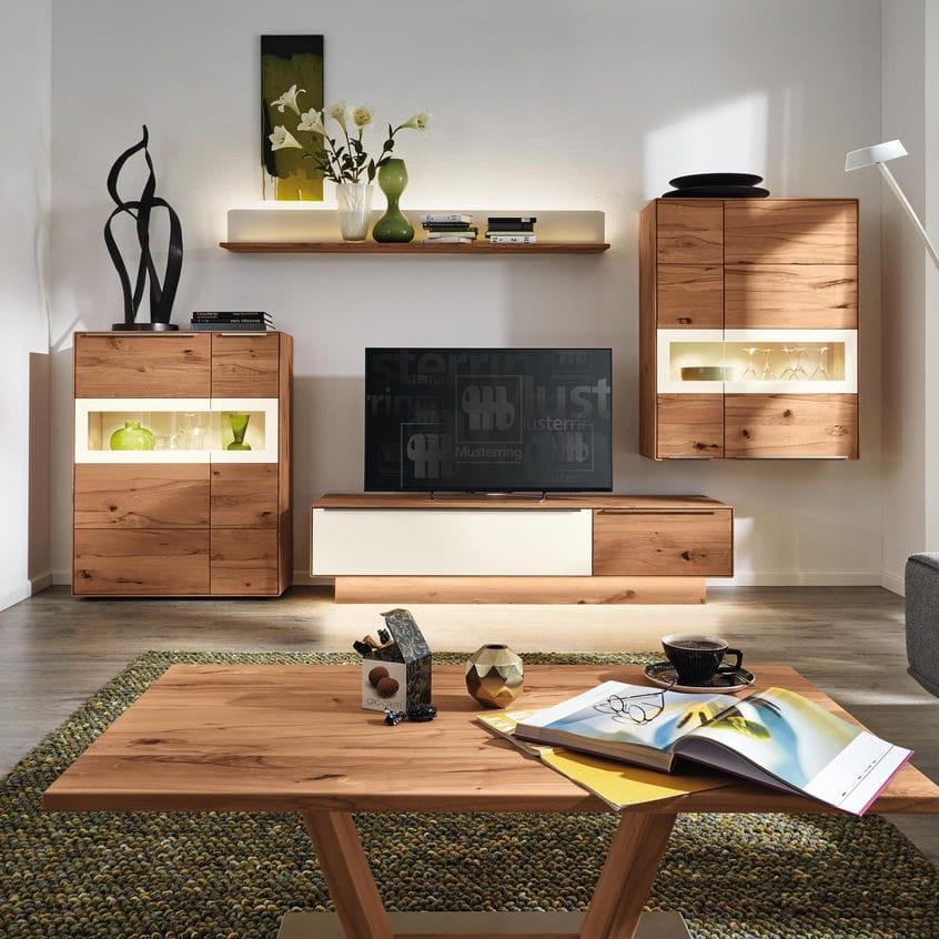 Moderne Wohnwand / Massivholz / Glas   PALMIRA