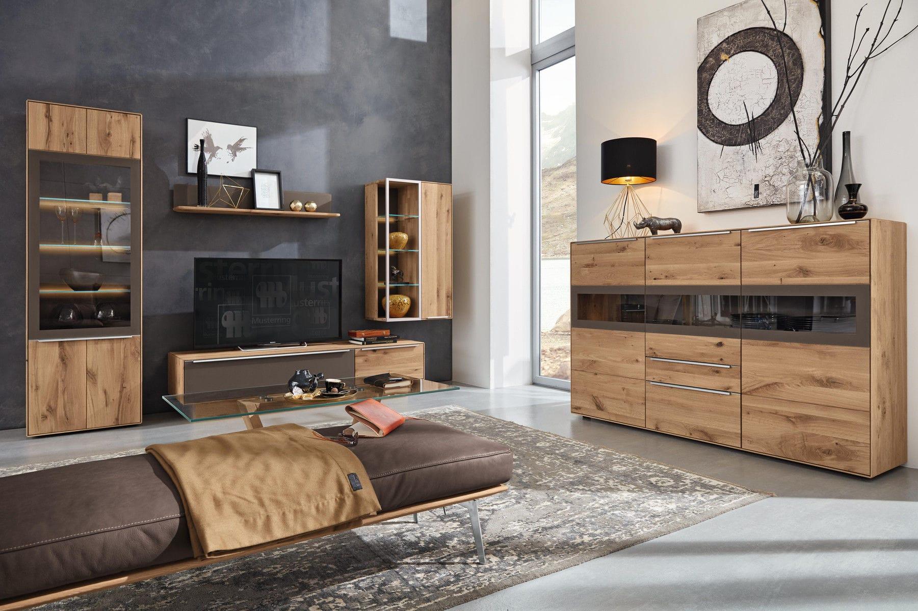 Moderne Wohnwand Massivholz Glas Palmira Musterring