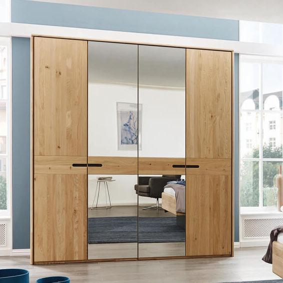 Moderner Kleiderschrank Holz Schiebetüren Spiegel Alto