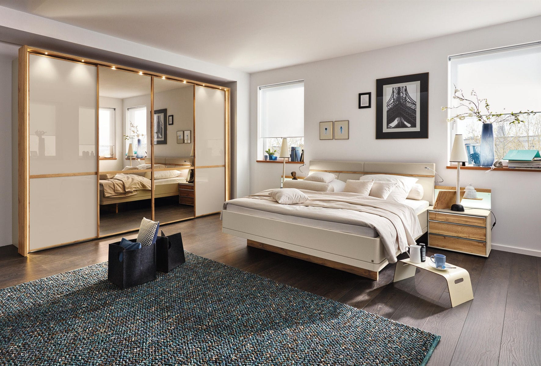Doppelbett Modern Gepolstertes Kopfteil Holz Sita