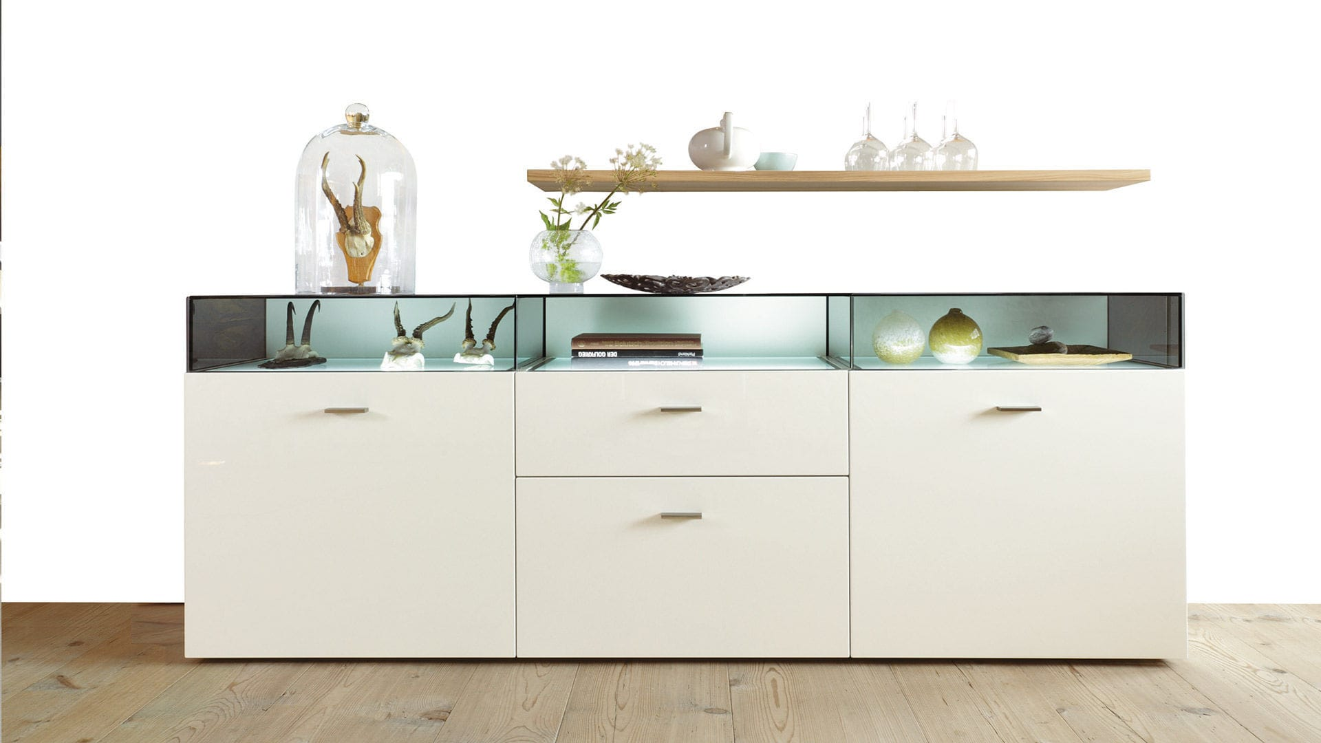 Sideboard holz glas  Modernes Sideboard / Glas / hochglanzlackiertes Holz - NOW! NO.14 ...