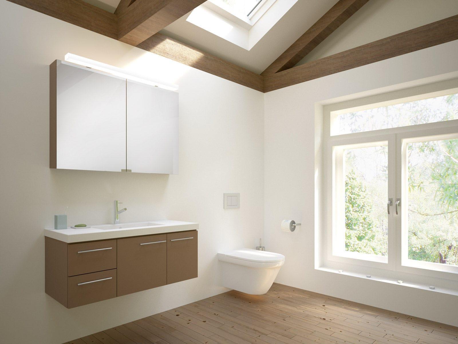 Hängend-Waschtischunterschrank / Holz / modern / mit Spiegel ... | {Waschtischunterschrank holz 76}